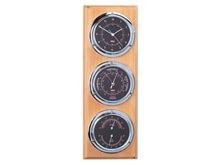 Saat - Barometre - Termometre - Higrometre Seti - Siyah Kadran - Meşe Rengi