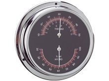 Termometre / Higrometre - Krom - 120 mm - Siyah Kadran