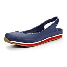 Terlik - Retro Slingback Flat - Kadın - Nautical Navy/Red