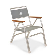 Picture of Folding Aluminium Boat Chair with Teak or Iroko Armrests - Grey