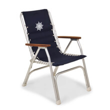 Picture of Folding Aluminum High Back Boat Chair with Teak or Iroko Armrests - Navy Blue