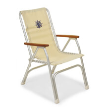 Picture of Folding Aluminum High Back Boat Chair with Teak or Iroko Armrests - White