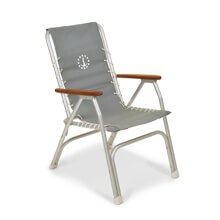 Picture of Folding Aluminum High Back Boat Chair with Teak or Iroko Armrests - Grey