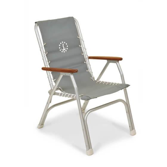 Katlanır Sandalye - Yüksek Sırt - Tik Kolçak - Gri Görseli