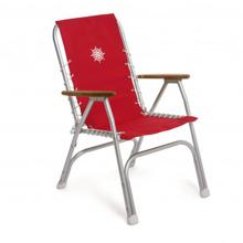 Katlanır Sandalye - Yüksek Sırt - Tik Kolçak - Kırmızı