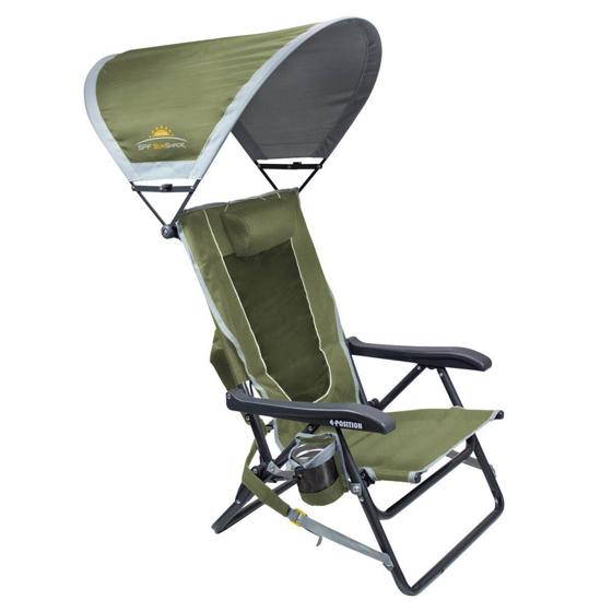 Katlanır Kamp Sandalyesi - 4 Kademeli & Güneşlikli - Yeşil Görseli